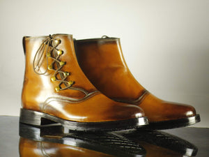 Bespoke Men's Brown Leather Ankle High Side Lace Up Boot