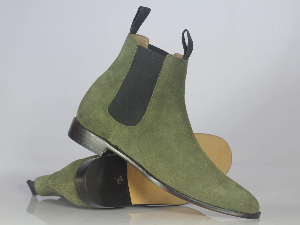 BESPOKESTORES Jodhpurs Boots Bespoke Olive Green Suede Ankle Chelsea Boots For Men's