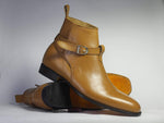 Bespoke Tan Jodhpurs Leather Ankle Boots For Men's