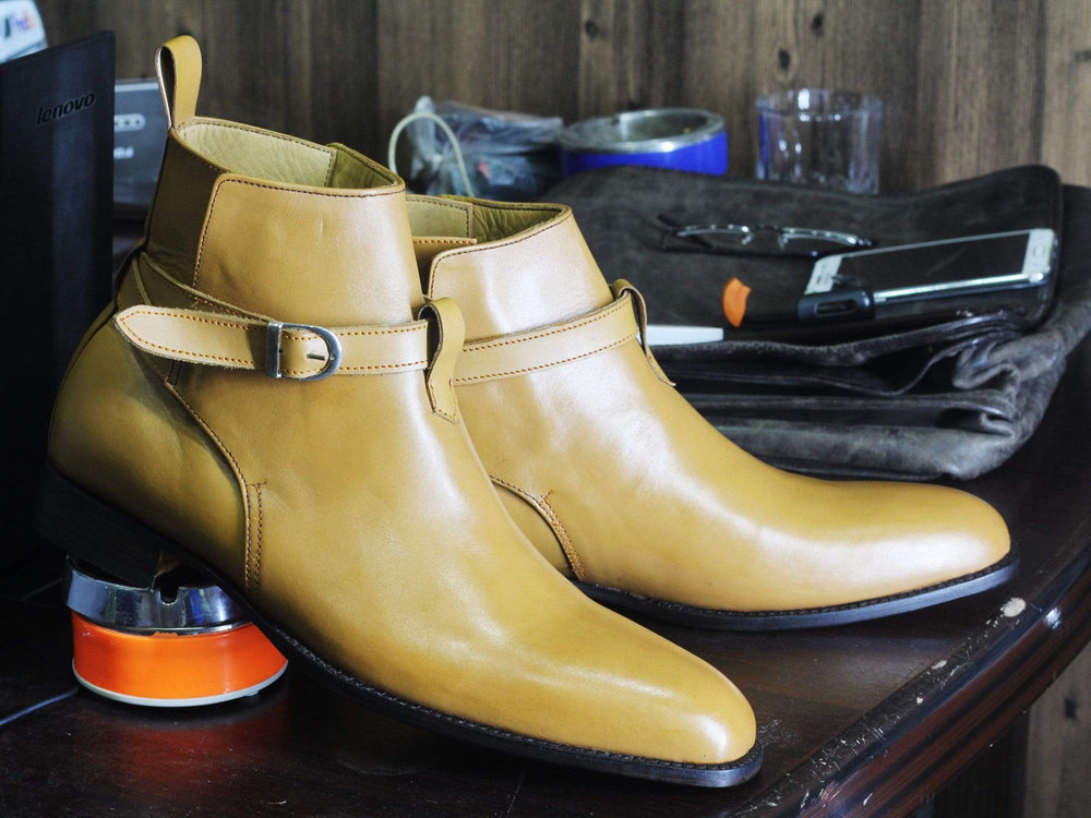 BESPOKESTORES Jodhpurs Boots Bespoke Tan Jodhpurs Leather Ankle Boots For Men's