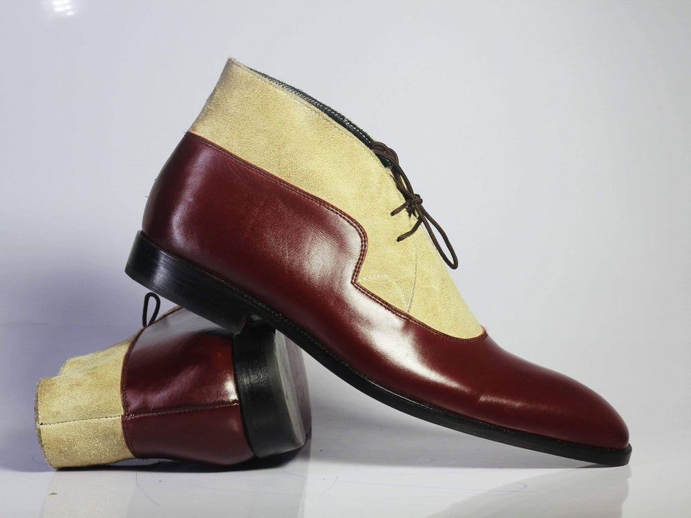 BESPOKESTORES Jodhpurs Boots Copy of Bespoke Yellow & Tan Leather Split Toe Boots For Men's