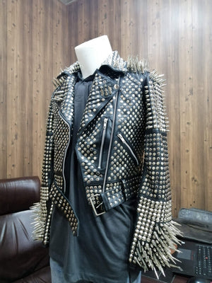 BESPOKESTORES Leather Jacket Black Silver Studded and Long Spiked Leather Halloween Leather Jacket with stud work