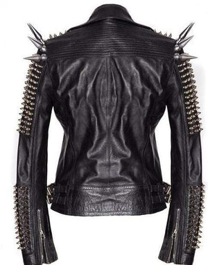 BESPOKESTORES Leather Jacket Black Women Genuine Classical Punk Style Leather Jacket Large Spike Silver Studs