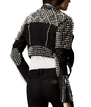 BESPOKESTORES Leather Jacket Branded Silver Studded Cropped Leather Jacket For Women With Long Spikes