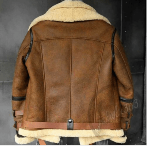 BESPOKESTORES Leather Jacket Brown B3 RAF Flight Bomber Aviator Real Sheepskin Leather Shearling Jacket