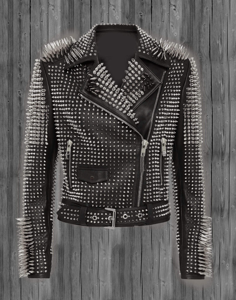BESPOKESTORES Leather Jacket Copy of Handmade Men's Golden Studded Spiked Rock Punk Black Belt Leather Fashion Jacket