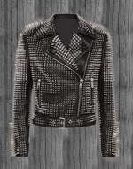 Handmade Women's Silver Studded Spiked Rock Punk Black Leather Fashion Jacket