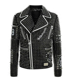 Handmade Men's Studded Spiked Plein Rock Punk Black Leather Fashion Jacket