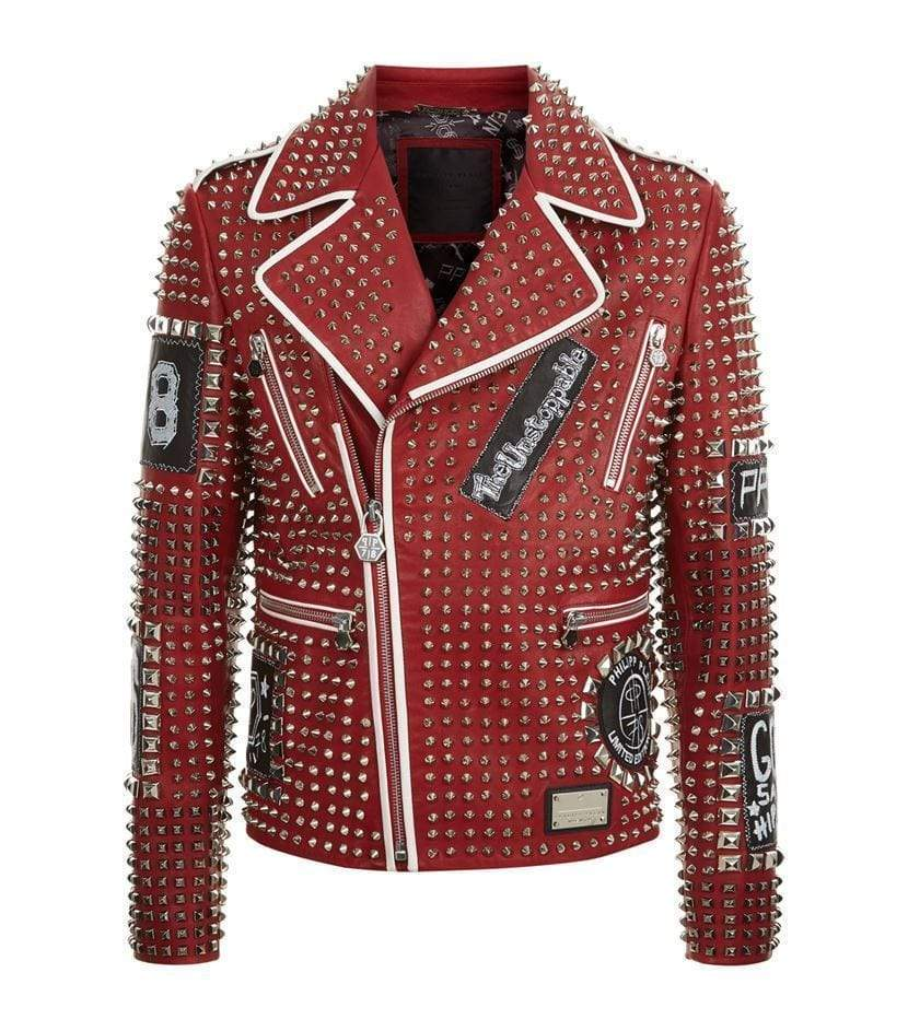Handmade Men's Studded Spiked Plein Rock Punk Red Leather Fashion Jacket