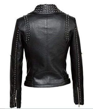 BESPOKESTORES Leather Jacket Copy of Handmade Men's Studded Spiked Plein Rock Punk Red Leather Fashion Jacket