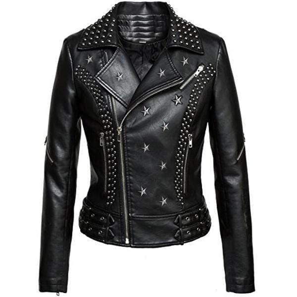 Handmade Zip Style Black Biker Rock Design Leather Studded Jacket For Men's