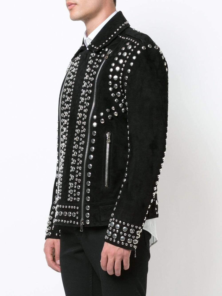 BESPOKESTORES Leather Jacket Copy of Handmade Zip Style Black Biker Rock Design Leather Studded Jacket For Men's