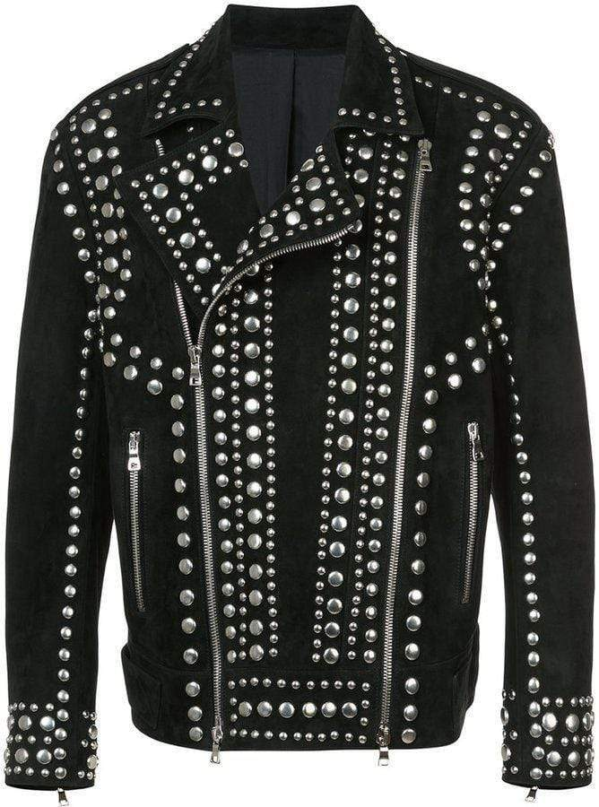 Handmade Sliver Studded Punk Fashion Black Suede Jacket For Men's