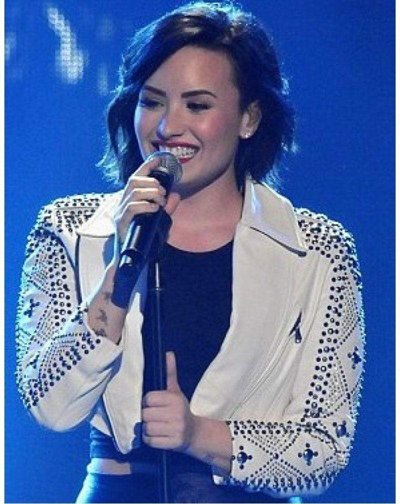 BESPOKESTORES Leather Jacket Demi Lovato Women Punk White Silver Studded On Sleeves Short Cow Leather Jacket