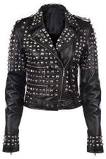 Handmade Black Color Fashion Leather Silver Studded Punk Jackets For Women