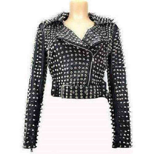 Handmade Black Color Fashion Studded Punk jacket, Short Body Leather Jacket For Women