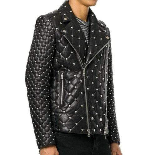 Handmade Black Color Silver Studded Leather Biker Rock Design Jacket For Men's