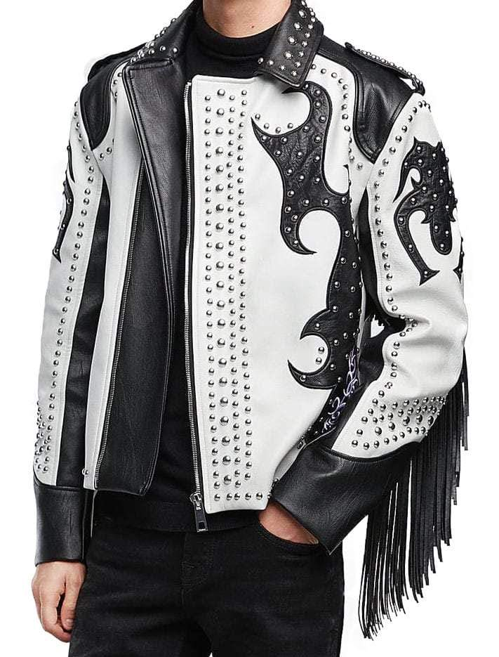 Handmade Black & White Jacket Silver Studded Fringe Zip Motorcycle Rock Stylish Leather Jacket For Men's v