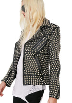 Handmade Full Silver Studded Rock Punk Cowhide Leather Biker Jacket For Women's