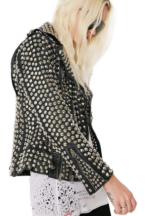 BESPOKESTORES Leather Jacket Handmade Full Silver Studded Rock Punk Cowhide Leather Biker Jacket For Women's