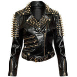 Handmade Men's Golden Studded Spiked Rock Punk Black Belt Leather Fashion Jacket