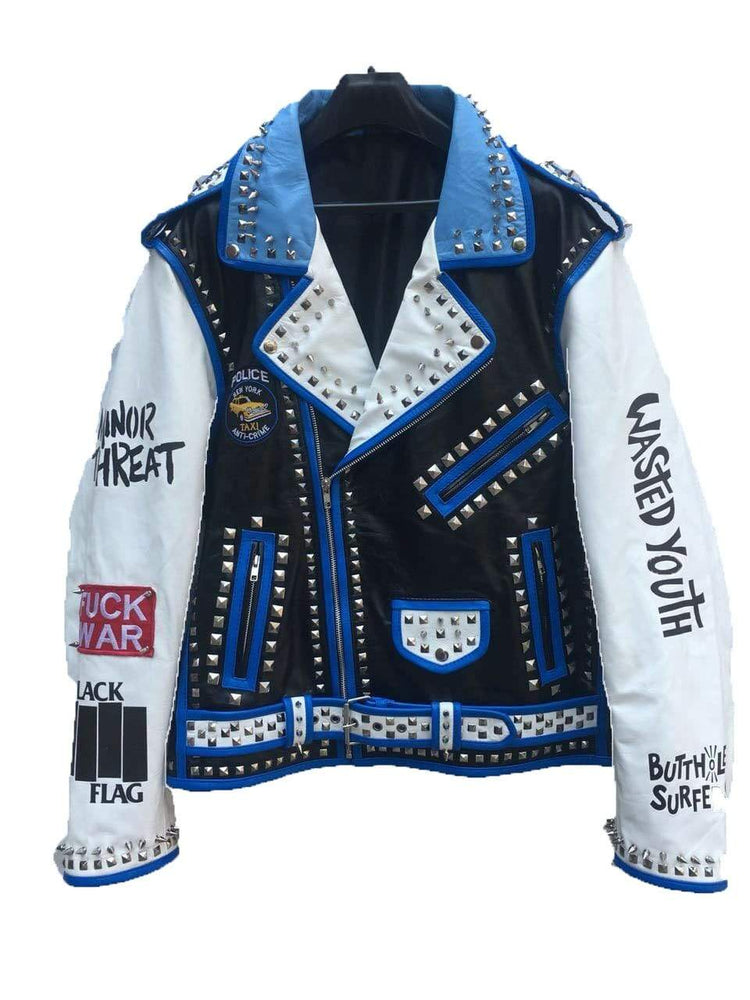 Handmade Multi Color Silver Studded Leather Biker Rock Design Jacket For Men's