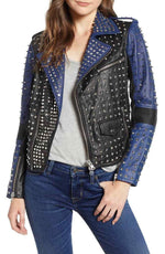 Handmade Sliver Studded Spiked Rock Punk Fashion Jacket, Black & Blue Leather Jacket For Women