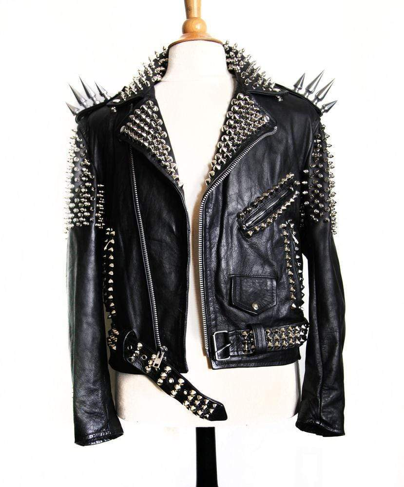 BESPOKESTORES Leather Jacket Handmade Women's Black Color Silver Studded Leather Jacket With Long Spikes