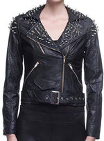 Handmade Women's Silver Studded Rock Punk Fashion Black Belt Leather Jacket