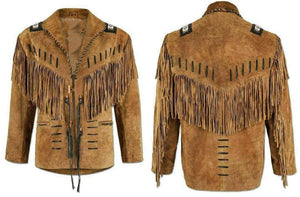Men Cowboy Style Leather Jacket, Western Style Fringe Leather Jackets
