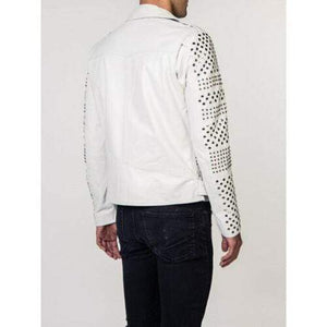 BESPOKESTORES Leather Jacket Men Luxury Wear Embroidery Studded Patches White Leather Jacket