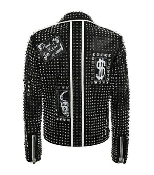 BESPOKESTORES Leather Jacket Men Punk Black Silver Studded Embroidery Patches Biker Cowhide Leather Jacket