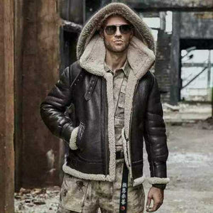 BESPOKESTORES Leather Jacket Men's Aviator B3 Real Shearling Sheepskin with Lining Fur Flight Bomber Hoodie Jacket