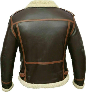 BESPOKESTORES Leather Jacket Men's Aviator B3 Real Shearling Sheepskin with Lining Fur Flight Bomber Jacket