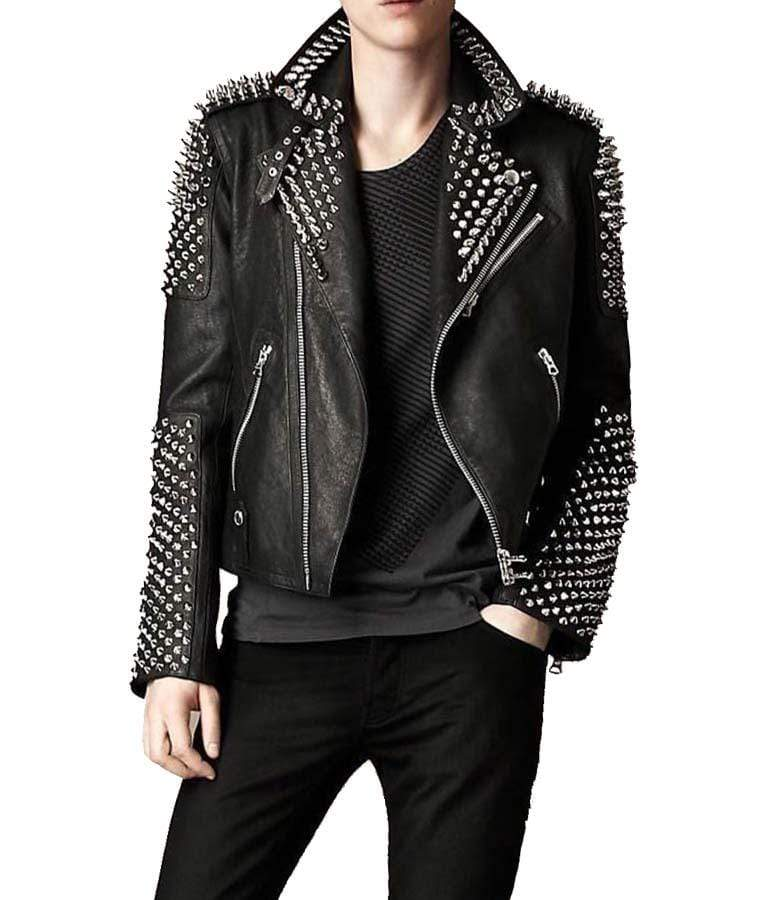 BESPOKESTORES Leather Jacket Men's Black Color Biker Genuine Leather Full Silver Spike Studded Slim Jacket