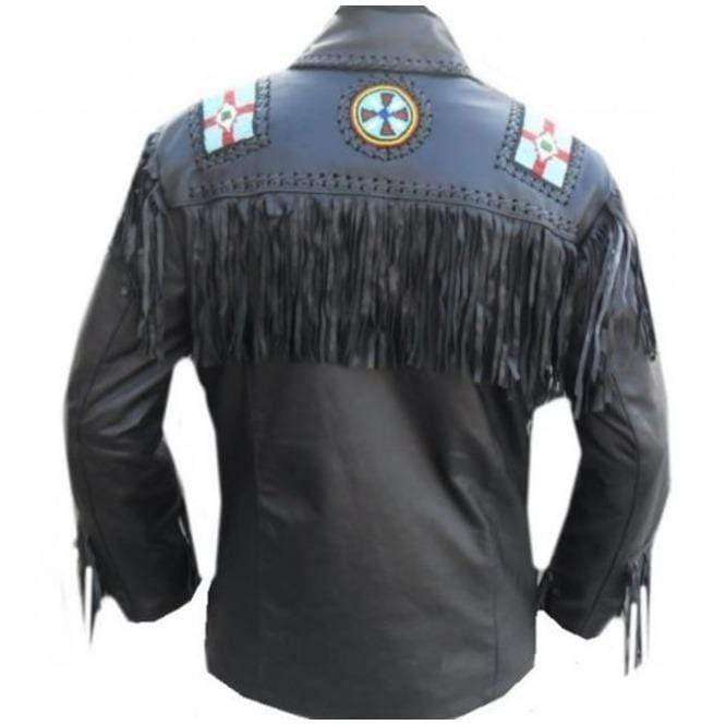 BESPOKESTORES Leather Jacket Men's Black Western Style Cowboy Suede Leather Jacket With Fringes and Beads