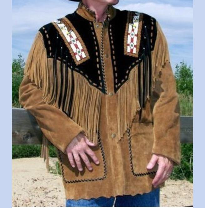 BESPOKESTORES Leather Jacket Men's Brown Suede Western Style Cowboy Leather Jacket With Fringe & Beaded