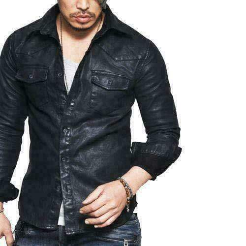 BESPOKESTORES Leather Jacket Men's Leather Shirt Genuine Lambskin Soft Black Vintage Jacket Slim Fit