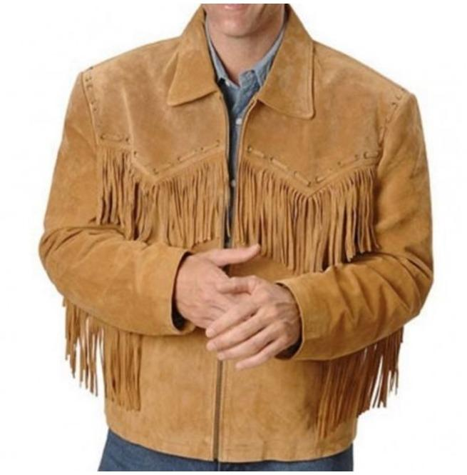 BESPOKESTORES Leather Jacket Men's Tan Brown Suede Western Style Cowboy Leather Jacket With Fringes