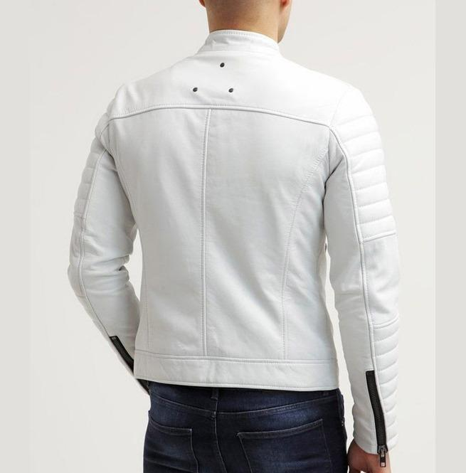 BESPOKESTORES Leather Jacket Men's White Biker Leather Jacket Genuine Lambskin Slim Fit Men Jacket