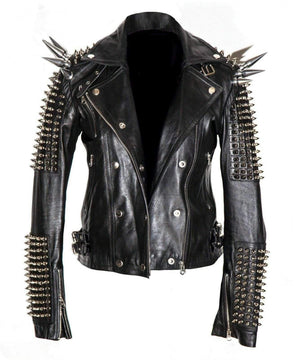 BESPOKESTORES Leather Jacket Men Silver Studded Long Spiked Jacket Leather Black Rock Punk Style Jacket