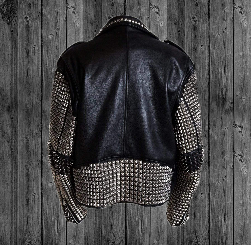 BESPOKESTORES Leather Jacket New Men Black Punk Silver Spiked Studded Cowhide Biker Leather Jacket Belted