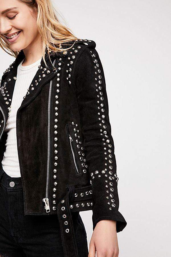 New Woman Black American Western Silver Studded Suede Leather Jacket Belted