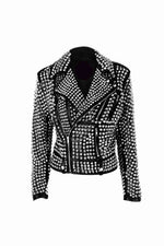 New Woman Black Punk Full Silver Studded Brando Cowhide Leather Jacket