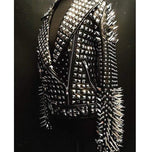 New Woman Full Black Rock Punk Silver Long Spiked Studded Leather Brando Jacket