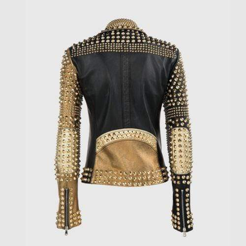 BESPOKESTORES Leather Jacket New Woman Punk Brando PP Full Golden Studded Black Biker Cowhide Leather Jacket