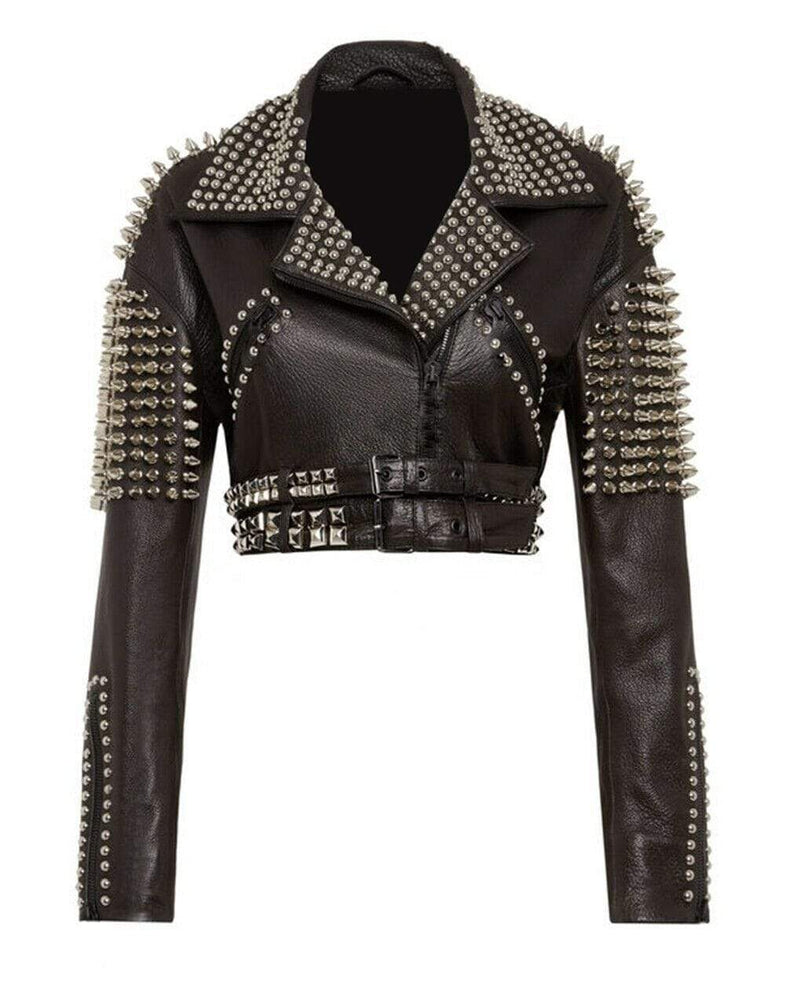 New Women Punk Black Full Silver Spiked Studded Cowhide Biker Leather Jacket