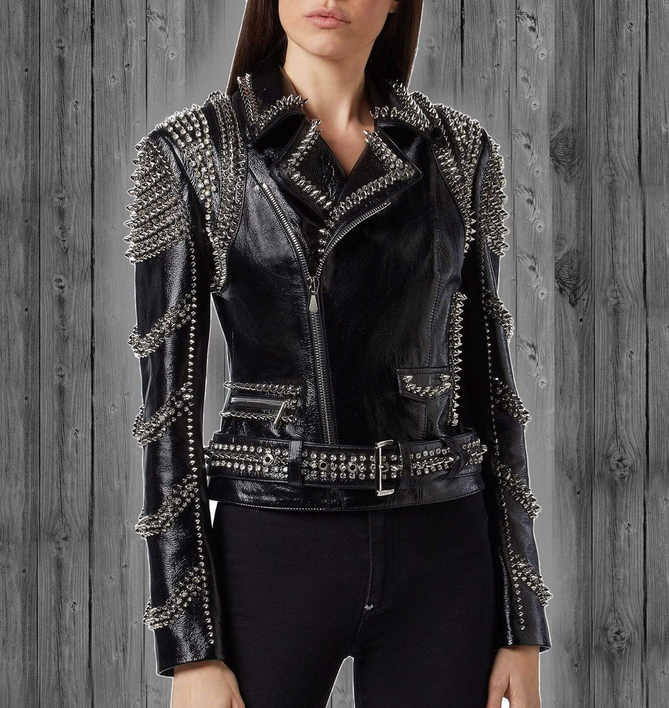 New Women's Handmade Rock Punk Black Leather Jacket, Studded Spiked Fashion Jacket