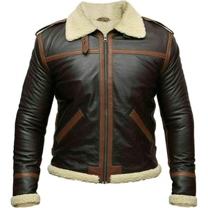 BESPOKESTORES Leather Jacket RAF B3 Brown Bomber Distressed Aviator Black Flight Leather Jacket Vest Cockpit