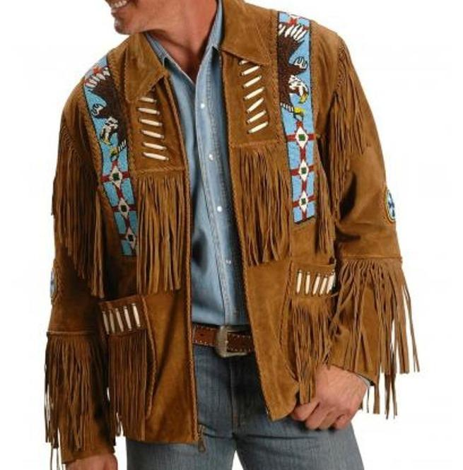 BESPOKESTORES Leather Jacket Stylish Tan Brown Fringe Western Men's Leather Suede Jacket With Tags